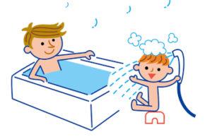 入浴中の父子のイラスト