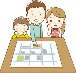 避難場所を決める家族のイラスト