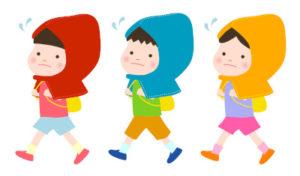 避難訓練をする保育園児のイラスト